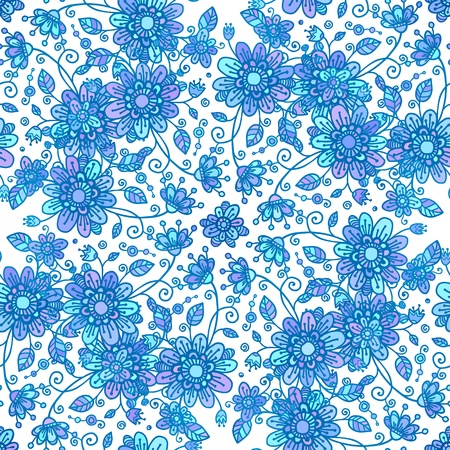 Blue line drawn flowers seamless pattern Vector