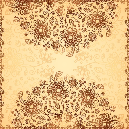 Ornate vector doodle chocolate and vanilla flowers background photo