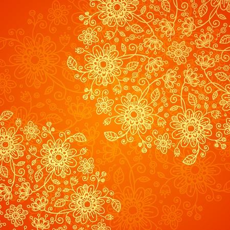 Orange doodle flowers ornate background Stock Vector - 17502129
