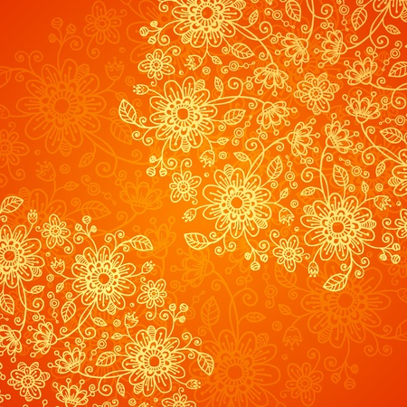 Orange doodle flowers ornate background Stock Vector - 17502129