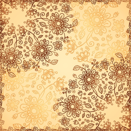 Ornate vector doodle flowers background Stock Vector - 17502131