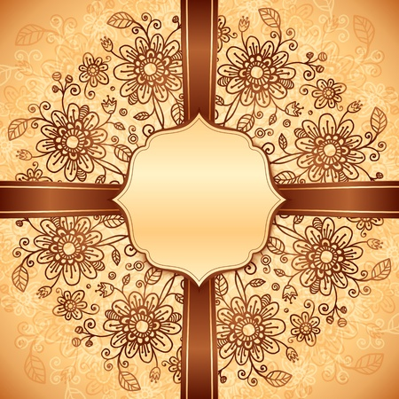 Vintage beige doodle flowers background with ribbon and label Vector
