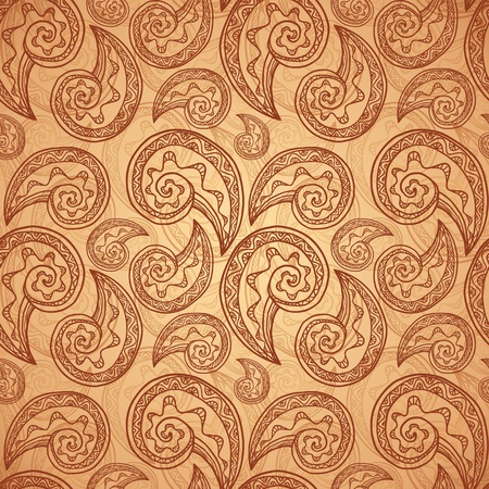 Vintage beige abstract background with doodles Vector