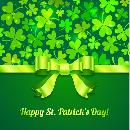 saint patrick��s day: Saint Patrick s day green greeting card