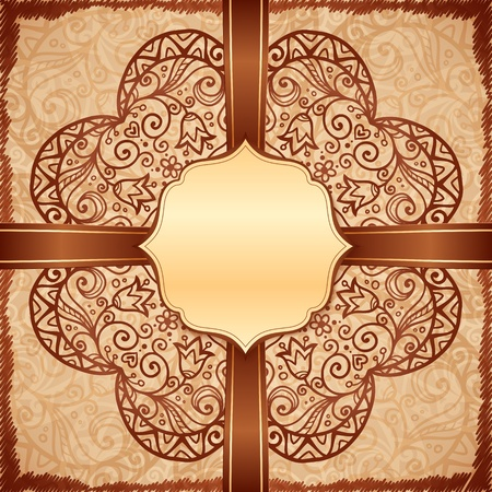 Vintage beige ethnic background with doodle ornament and ribbon photo