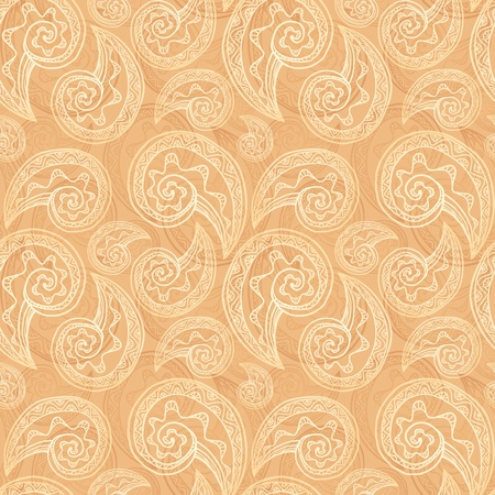 Vintage beige ethnic background with doodles Vector
