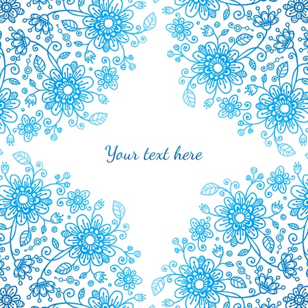 Bright blue ornate flowers  background Stock Vector - 17540538