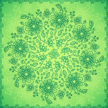 Green doodle flowers  background Stock Vector - 17540540