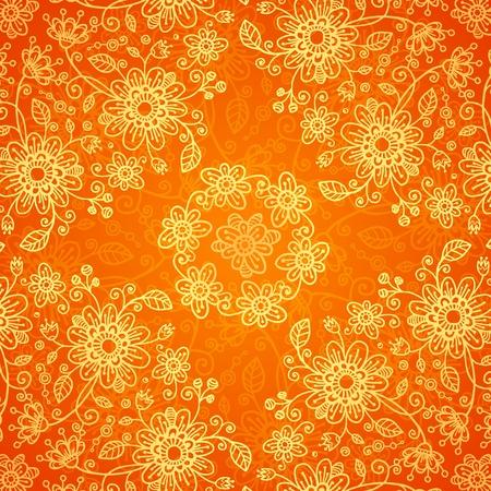 Orange doodle flowers ornate seamless pattern Stock Vector - 17540567