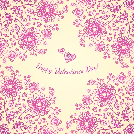 Pint valentines day doodle flowers background Vector