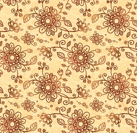 Ornate  doodle flowers seamless pattern Stock Vector - 17540561