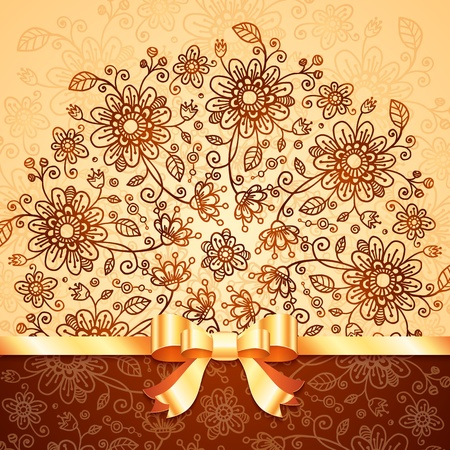 Ornate  doodle flowers background with golden ribbon Vector