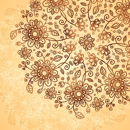 Ornate  doodle chocolate and vanilla flowers background