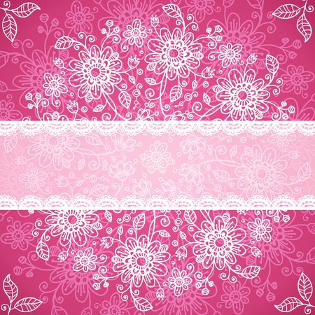Pint valentines day doodle flowers background Stock Photo - 17540558