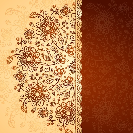 Ornate  doodle flowers two colors background Stock Photo - 17540573