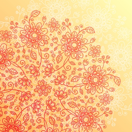 Yellow and pink doodle flowers vintage  background Stock Vector - 17540557