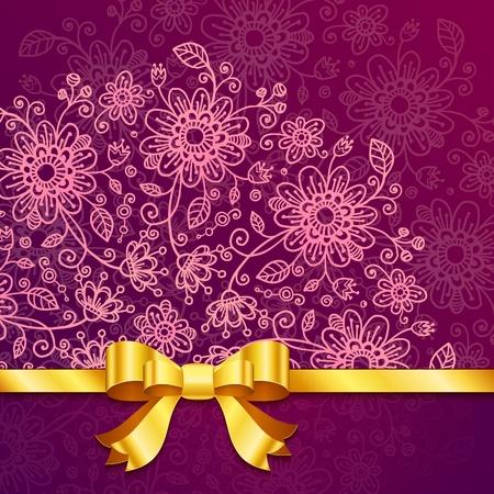 Vinous vintage flowers  background with golden ribbon Stock Vector - 17540568