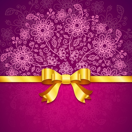 Vinous vintage flowers  background with golden ribbon Stock Photo - 17540548