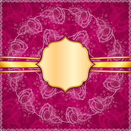 flowers background with golden ribbon and vintage label Stock Photo - 17540572