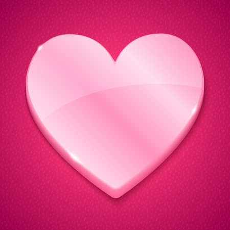 Glossy plastic heart on pink textured background Vector