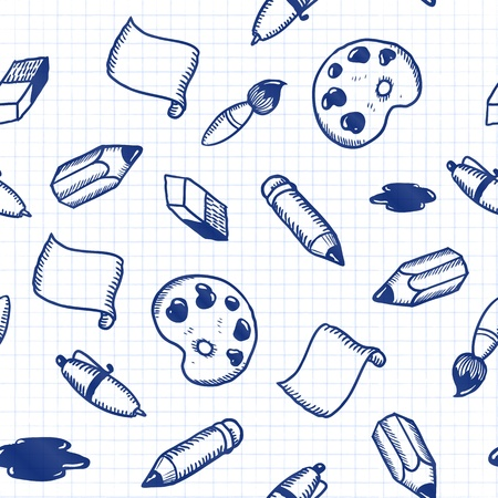 Doodle tools  pen, pencil, brush, eraser seamless pattern Stock Vector - 17540569