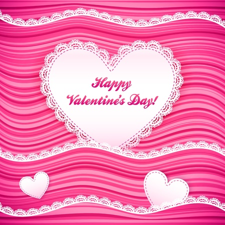 pink wavy Valentine s Day background with lacy hearts Stock Vector - 17540576