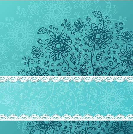 doodle flowers background with lacy ribbon for your text Stock Photo - 17631225