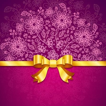Vinous vintage flowers  background with golden ribbon Stock Photo - 17631227