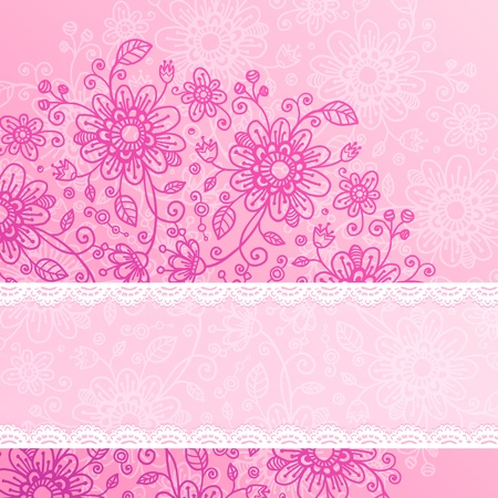 Vintage pink flowers background with lacy ribbon for text Stock Photo - 17631224