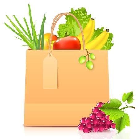 bolsa supermercado: bolsa de papel aislada con verduras Vectores