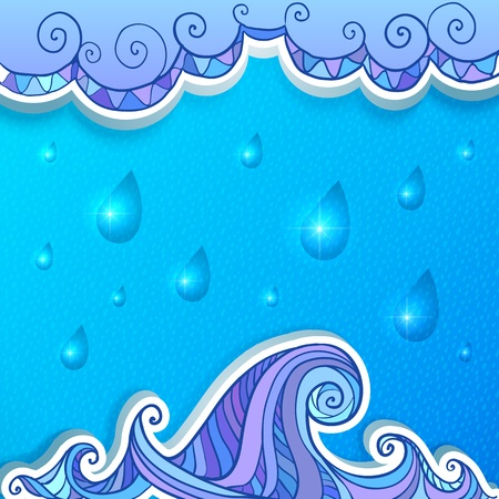 water stained: Decorative abstract ocean, clouds and rain  background
