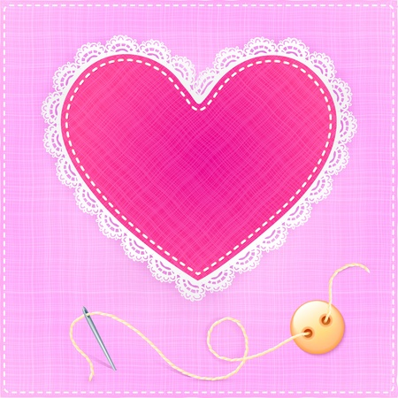 Red heart with lace, needle and button on fabric background Stock Vector - 17769473