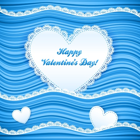 pink wavy Valentine s Day background with lacy hearts Stock Vector - 17769495