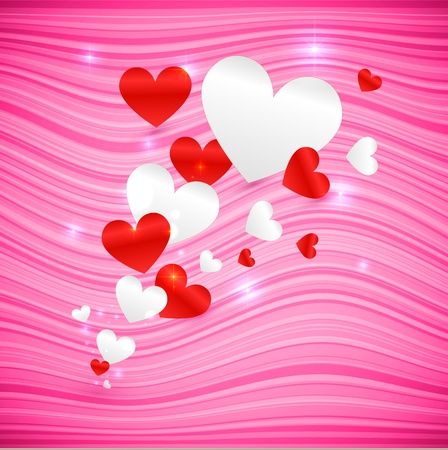 pink wavy Valentine s Day background with hearts Stock Vector - 17769488