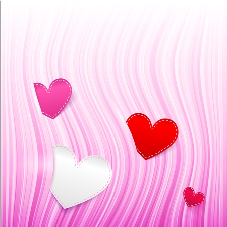 pink wavy Valentine s Day background with hearts Vector