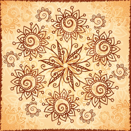 Ornate  doodle flowers background photo