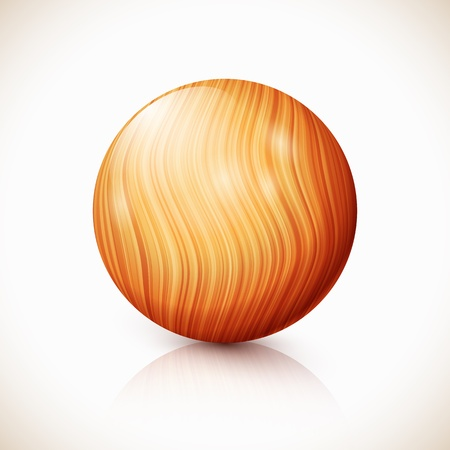 Yellow  isolated wooden ball with reflection and shadow Stock Vector - 17769484