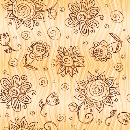 Ornate  doodle flowers seamless pattern photo