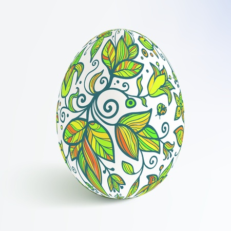 White isolated ornate  realistic egg with shadow Vector