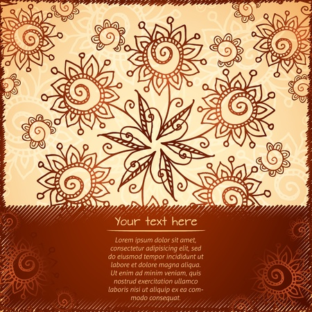 Ornate  doodle flowers background with place for text Stock Vector - 17769482