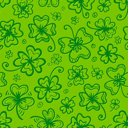 saint patrick��s day: Green clovers seamless pattern for Saint Patrick s Day
