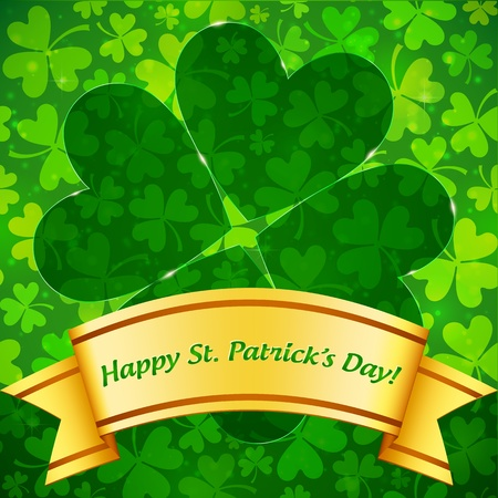 Saint Patrick s Day green clovers greeting card template Stock Vector - 17769497