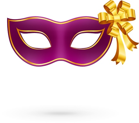 Violet  carnival mask with golden bow Vector