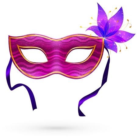 mascaras de carnaval: Violet carnaval máscara con flores y cintas de Vectores