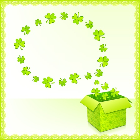 Green paper box with clovers and text bubble greeting card Stock Vector - 17854245