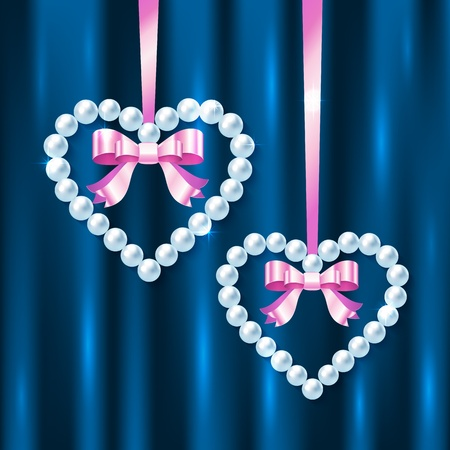 string of pearls: Pearl hearts with pink ribbons and bows on dark blue silk Illustration