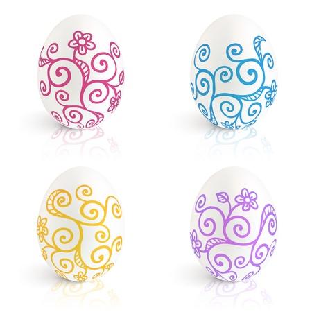 Ornate Easter eggs  set Stock Vector - 17854228