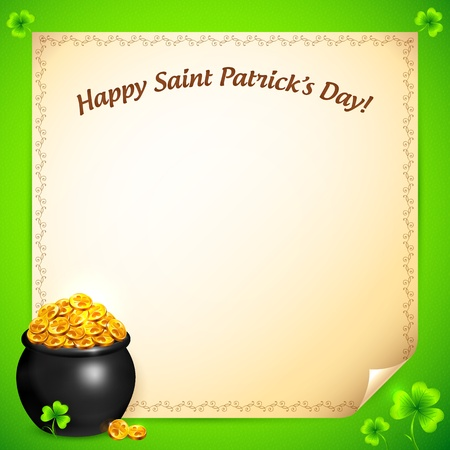 Pot of leprechauns gold with lucky clovers greeting card Illustration