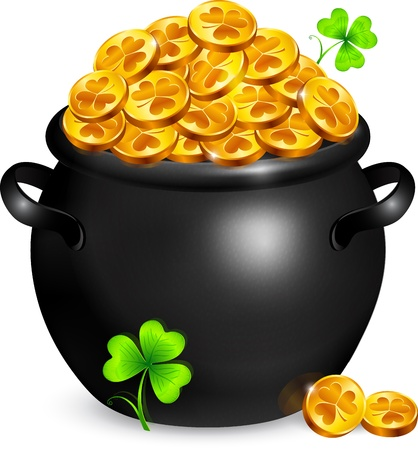 Black pot of leprechauns gold with lucky clovers Stock Vector - 17928077