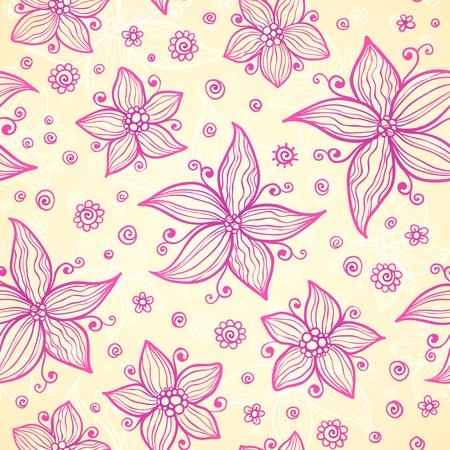 Ornate vector doodle pink flowers background Vector